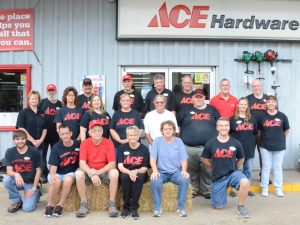Members of the Carrollton Ace Hardware staff are shown above.  Front row (left to right): Kevin Howell, Kim, Homer, Sandy and Cathy Mills and Kenneth Hutson.  Second row: Chris Nichols, Julie  Morsheiser, Keri Trusty, Vickie Cannon, Anne Rutledge, Jacob Brown, Sheila Buckhannon and Paula Tice.  Third row: Mike Moore, Brad Meininger, Bob Arnold, Dan Woods, George Keyser, Gary Campbell and Bob Walters.