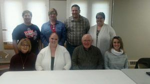 Newly-elected officers of the Carrollton Schools Alumni Foundation for 2017 are shown in the above photo with two of the three new trustees. Seated (from left) are Beth (Zollars) Tonsky, president; Mandie (Babe) McCort, vice president; John Davis, treasurer, and Joy (Locke) Warner, secretary. Standing (from left) are Wendy (Shawver) Davis and Lori (Davis) Bryan, recording secretaries; Steven Barnett and Sharon Ledford, both new three-year trustees. Courtney Rinehart, who was elected as a new trustee for a three-year term, was absent.