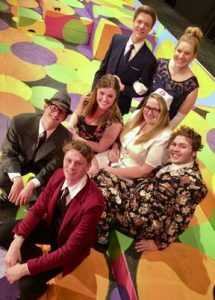 "Lead cast members of the Carrollton High School spring musical ""Catch Me If You Can"" are shown in the above photo.  They include: Kody Bennett, front. Middle row (from left): Robert Husted, Bailey McKarns, Brenna Campbell and Jared DeGarmo. Standing behind are: Olan Domer and Sarah Wilsford."