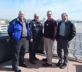 "The trip began with a tour of the American Farm Bureau Federation building and a trip to the roof to ""check out the view"". Shown above are country presidents with the Capital Building in the background. They are (from left): John Seleski, Harrison County; Jim Rowe, Tuscarawas County; Duayne Wetherell, Jefferson County; and Bernie Heffelbower, Carroll County."