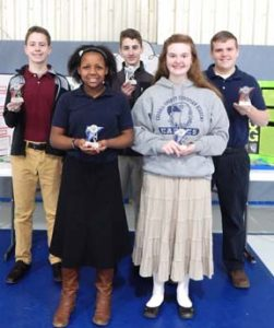 Winners of the recent Carroll County Christian Academy Science Fair are shown above. They are (front from left): Hannah McCort, first, junior high, and Faith Locke, first, high school. Standing behind are: Michael Stout and Isaac Griffith, second and third, junior high, and Isaiah Locke, second, high school. Winners will compete at the Buckeye Christian Schools of Ohio conference in Cleveland March 9 and 10. Dave Craig teaches science at the Carroll County Christian Academy.