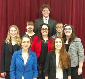 The six Carrollton High School state speech qualifiers and two alternates are shown in the above photo. First row (from left): Emma Lane and Celia Meek.  Second row:  Brooke Geis, Desarae Gorney and Grace Barnhart. Third row Ashlee Copeland (left) and Sam Soisson.  Fourth row: Jared DeGarmo.