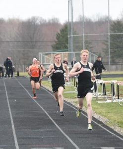 Cole Lovett and Quinton Huggett finished one-two in the 1600-meter run against Marlington.
