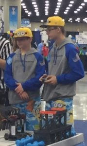 Braxton Swearingen and John Birong placed fifth in the TeamWork Challenge finals of the Worlds Robotics Competition last week in Kentucky.