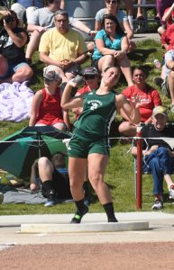 Kelsi Hulit competed in the Divisoin III shot put and discus at the state track meet. She placed sixth in the discus. She is shown here competing in the shot put.