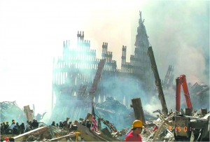WTC dust flies., tower stands