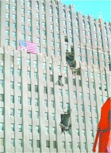WTC tower with flag
