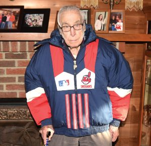 93-year-old Carl Miller sports his Cleveland Indians jacket. Miller was in attendance during the 1948 World Series.