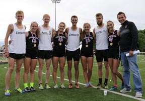 The Carrollton boys and girls 4x8 relay teams both won regional championships and qualified for the state meet. Team members (from left) include: Quinton Huggett, Micah Donley, Cole Lovett, Allison Davis, Daniel Lampe, Grace Bartlow, Preston Berry and Maddie Dunlap. Coach Mike Aukerman is on the far right.
