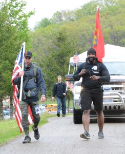 Tom Indorf (left) and Byron Rogers led the SAVE22 hike Saturday morning.